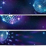 Drie Horizontale Discoachtergronden Stock Afbeeldingen