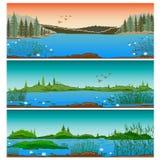 Drie horizontale rivierlandschappen Royalty-vrije Stock Foto's