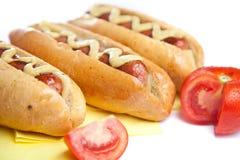 Drie hotdogs Royalty-vrije Stock Fotografie
