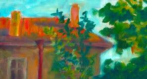 Drie huizen Aardesectie Origineel olieverfschilderij op canvasaffiche Modern Impressionisme Royalty-vrije Stock Afbeeldingen
