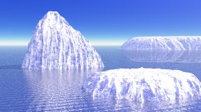 Drie ijsbergen in oceaan Stock Afbeeldingen