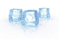 Drie ijsblokjes Stock Afbeeldingen