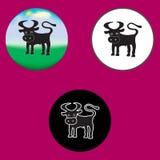 Drie illustraties van de stier Stock Afbeelding