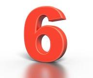 Drie inzameling van het dimentional de rode aantal - zes Royalty-vrije Stock Foto
