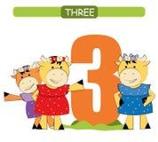 drie Inzamelingsaantal voor kleuterschool en kleuterschool Leer nummer 3 koeien royalty-vrije illustratie