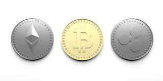 Drie isoleerden muntstukken op een witte achtergrond - Bitcoin, Ethereum, Rimpeling, het 3D teruggeven vector illustratie