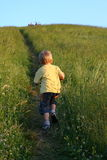 Drie jaar het oude jongen lopen Royalty-vrije Stock Afbeeldingen