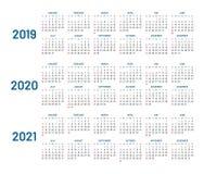 Drie jaar kalender, 2019, 2020, geïsoleerde 2021, vlakte Stock Afbeeldingen