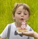 Drie jaar verjaardags Stock Foto