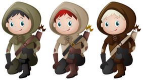 Drie jagers met boogschietenuitrusting royalty-vrije illustratie