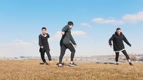 Drie jonge mensen die synchroon acrobatische tik op het gras uitvoeren stock video