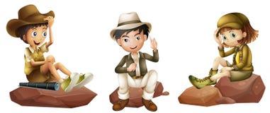 Drie jonge ontdekkingsreizigers Royalty-vrije Stock Afbeelding
