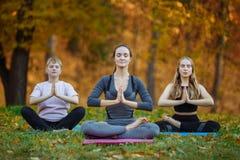 Drie jonge yogavaklieden die yogaoefeningen in park doen De vrouwen mediteren openlucht voor mooie de herfstaard royalty-vrije stock fotografie
