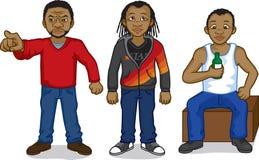 Zwarte beeldverhaalmensen Stock Afbeelding