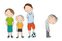 Drie jongens met bal, klaar om voetbal/voetbal te spelen, de vierde jongen bevindt zich met zijn achterneiging kijkend neer ongel royalty-vrije illustratie