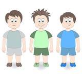 Drie jongens op een witte achtergrond Royalty-vrije Illustratie
