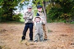 Drie jongensportret royalty-vrije stock afbeelding