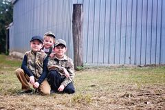 Drie jongensportret royalty-vrije stock foto