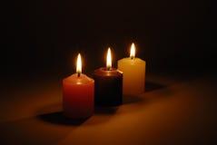 Drie kaarsen stock foto