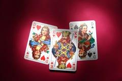 Drie kaarten Stock Foto's
