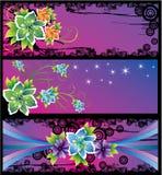 Drie kaarten met abstracte bloemen Royalty-vrije Stock Afbeelding