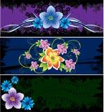 Drie kaarten met abstracte bloemen Stock Foto's