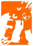 Drie katten en vlinders stock illustratie