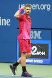 Drie keer Grote Slagkampioen Stanislas Wawrinka van Zwitserland in actie tijdens zijn definitieve gelijke bij US Open 2016 Royalty-vrije Stock Afbeelding