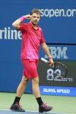 Drie keer Grote Slagkampioen Stanislas Wawrinka van Zwitserland in actie tijdens zijn definitieve gelijke bij US Open 2016 Royalty-vrije Stock Foto