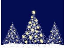 Drie Kerstbomen Stock Afbeeldingen