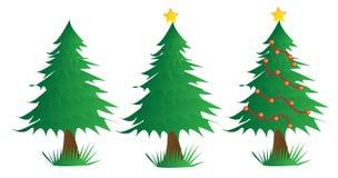 Drie Kerstbomen Stock Fotografie