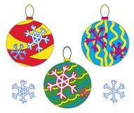 Drie Kerstmisballen royalty-vrije stock afbeelding