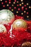 Drie Kerstmisballen Stock Fotografie