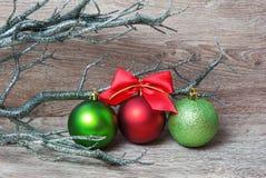 Drie Kerstmisballen Stock Afbeeldingen
