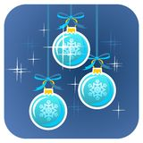 Drie Kerstmisballen Stock Foto