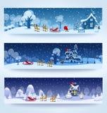 Drie Kerstmisbanner Stock Foto's
