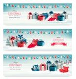 Drie Kerstmisbanners met stelt voor Stock Afbeelding