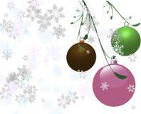 Drie Kerstmisbollen Stock Afbeelding