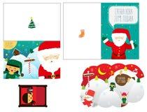 Drie Kerstmiskaarten voor nieuw jaar met de Kerstman royalty-vrije illustratie
