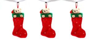 Drie Kerstmislaarzen Stock Afbeelding