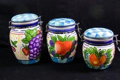 Drie Keuken Ceramische Bussen stock afbeelding