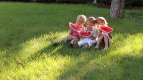 Drie kinderen eten watermeloen op het gras in Park stock footage
