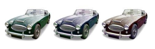 Drie klassieke MG-Sportwagens Royalty-vrije Stock Foto's