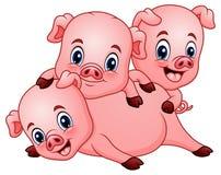Drie klein varkensbeeldverhaal vector illustratie