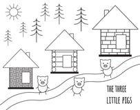 Drie klein varkenssprookje Vector illustratie die op witte achtergrond wordt geïsoleerdd Zwart-wit eenvoudig silhouet stock illustratie