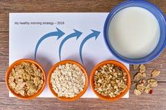 Drie kleine kommen met verschillende graangewassen en kom met melk, bedrijfsstrategie, besluit - het maken, keus Royalty-vrije Stock Foto
