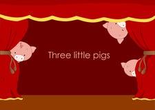 Drie kleine varkens Stock Foto