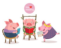 Drie kleine varkens die een boek lezen royalty-vrije illustratie