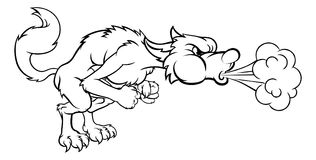 Drie Kleine Varkens Groot Slecht Wolf Blowing royalty-vrije illustratie