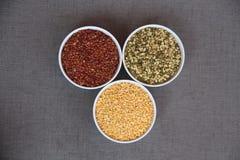 Drie kleuren volledige zaden stock fotografie